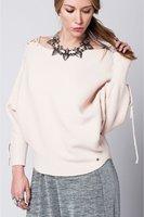 Roze gebreide sweater trui met strik details