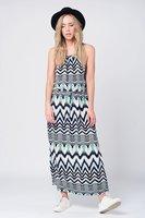 Maxi jurk met marineblauwe print