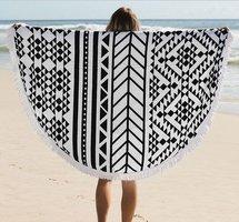 Roundie strandlaken Retro|Beach roundie|Rond strandlaken|Badstof|Ibiza ronde handdoek|Zwart wit