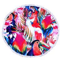 Roundie beach towel Paradise|Rond stradlaken|Badstof|Dikke kwaliteit|Vogels|Multi colour