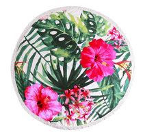 Beach roundie Hibiscus|Strandlaken|Badstof|Dikke Kwaliteit|Roze bloemen|Tropische bladeren