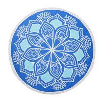 Roundie strandlaken Lovely Lotus|Badstof|Dikke kwaliteit|Blauw