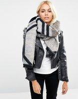 Dames sjaal grijs Geo|Sjaal groot|Grijs Wit Zwart|Geometrisch|Omslagdoek