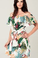 Jurk off shoulder tropical print