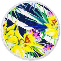 Beach roundie Orchids|Badstof|Dikke kwaliteit|Strandlaken|Ibiza ronde handdoek|Geel Blauw Groen WIt