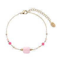 Armband Lovely beads|Goudkleurigarmbandje|Roze kralen