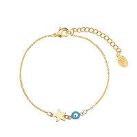 Armbandje Star eye|Goudkleurig armbandje|Ster|Blauw|Alziend oog