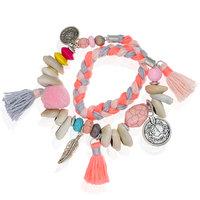 Armband Wrapped Braid Roze armband Ibiza stijl Wikkel armband Stenen Kralen Schelpen