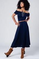 Marineblauwe midi jurk met blote schouders