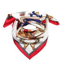 Vierkant sjaaltje Royal Horse|Blauw Rood Beige|Vierkante sjaal|Zijdezacht sjaaltje