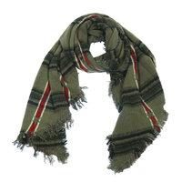 Warme dames sjaal Stars Stripes Groen|Lange dames shawl|Groen Zwart Rood|Geblokt|Geruit|Extra zacht