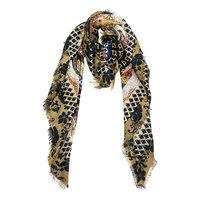 Vierkante dames sjaal Deep Forest|Bruin Oranje Oker Zwart|Omslagdoek|Vierkante shawl
