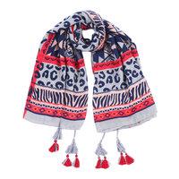 Vierkante dames sjaal Printed Leopard|Grijs Blauw Roze|Omslagdoek|Vierkante shawl