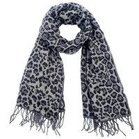 Warme dames sjaal Amazing Leopard|Lange dames shawl|Luipaard print|Grijs Zwart|Extra zacht