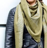 Trendy vierkante dames sjaal Sparkling Lines|Groen Zilver|Omslagdoek|Glitter|shawl