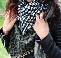 Vierkante dames sjaal squares Vierkante shawl Omslagdoek Groen wit zwart Luipaard Extra groot
