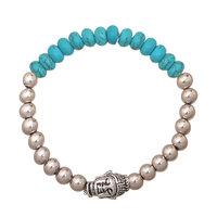 Armband Silver Buddha Kralen armband Silver turqoise aqua blauw Buddha