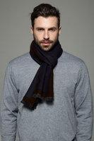 Heren sjaal Simple Border|Warme heren shawl|Blauw Bruin|Fijne franjes