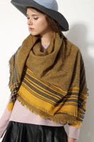 Dames sjaal Edge|Vierkante sjaal|Omslagdoek|Mosterd Oker Geel Blauw|Geblokt Geruit gestreept|Extra zacht