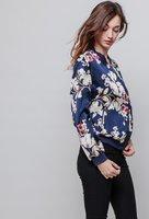 Blauw zijdezacht bomber jasje bloemenprint