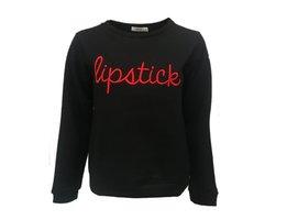 Dames sweater Lipstick|zwarte sweater trui|Rode quote lipstick