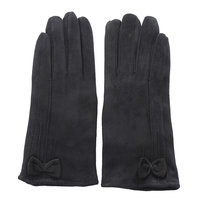 Zachte dames handschoenen Chic Bow|Zwart|Strik|warme handschoenen