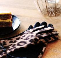 Zachte dames handschoenen Leopard Lady|Zwart Bruin|Luipaard print|warme handschoenen
