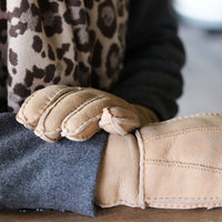 Warme dames handschoenen Cool Winter|Beige taupe camel bruin|Leder|Gevoerde handschoenen