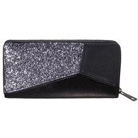 Dames portemonnee Glitter Accent|Zwart Zilver|Grote portemonnee