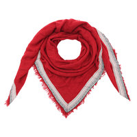 Vierkante dames sjaal Colourful Rows|Vierkante shawl|Rood|Aztec bies