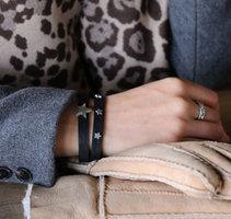 Armbanden set Star Party|Zwart zilver|Sterren studs|Lederlook