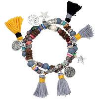 Kralen armband Winter Trend|Grijs geel|Sterren Buddha Kralen Flosjes
