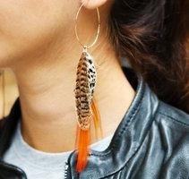 Oorbellen Fall Feathers|Oorhangers oorstekers|Oranje Bruin