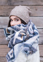 Warme dames sjaal reversible aztec|Lange dames shawl|Extra dikke kwaliteit|Aztec print|Blauw Beige Camel