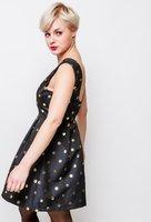 Zwarte jurk Pois|Zwart goud|Goudkleurige stippen|Feestjurk|Party outfit