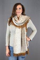 Warme lange dames sjaal Goldina|Beige taupe goud|Lange dames shawl|Teddy stof|Extra zachte kwaliteit