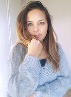 Gebreide fluffy trui Alexandre Laurent hemelsblauw mohair