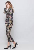 Dames pantalon broek bloemenprint|Zwart|Floral print broek