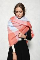 Mooie vierkante dames sjaal Coral|Vierkante shawl|Omslagdoek|Koraal roze blauw|Vierkant geruit|Extra zacht