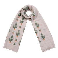 Lange dames sjaal Cactus Lange shawl Beige Groen Oranje Cactus