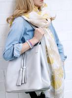 Lange dames sjaal Jungle Vibes|Lange shawl|Beige Geel Glitter|Bladerprint