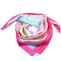 Zijdezacht vierkant sjaaltje Happy Print|Roze blauw geel|Luipaard print|Kleine shawl