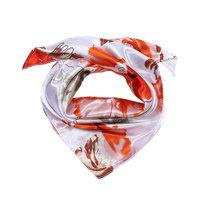 Zijdezacht vierkant sjaaltje Orange Flowers|Oranje geel beige|Bloemenprint|Kleine shawl