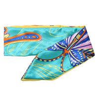 Zijdezacht bandana sjaaltje Jungle Butterfly|Klein sjaaltje|Blauw geel|Vlinderprint