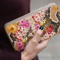 Dames portemonnee Botanique|Clutch|Bloemenprint Slangenprint|Roze beige grijs oranje bruin|PU leder|