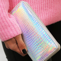 Dames portemonnee Metallic|Clutch|Slangenprint|Zilver metallic|PU leder