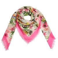 Vierkante dames sjaal Botanic Paradise|Vierkante shawl|roze beige groen|Tropische bloemenprint ananasprint bladerprint