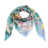 Vierkante dames sjaal Flower Paradise|Vierkante shawl|Blauw|Tropische bloemenprint bladerprint