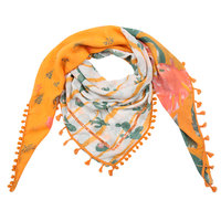 Vierkante dames sjaal Funky Cactus|Vierkante shawl|Oranje Groen|Cactusprint ananasprint