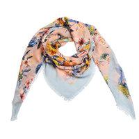 Vierkante dames sjaal Botanic Paradise|Vierkante shawl|Blauw roze oranje geel|Tropische bloemenprint ananasprint bladerprint